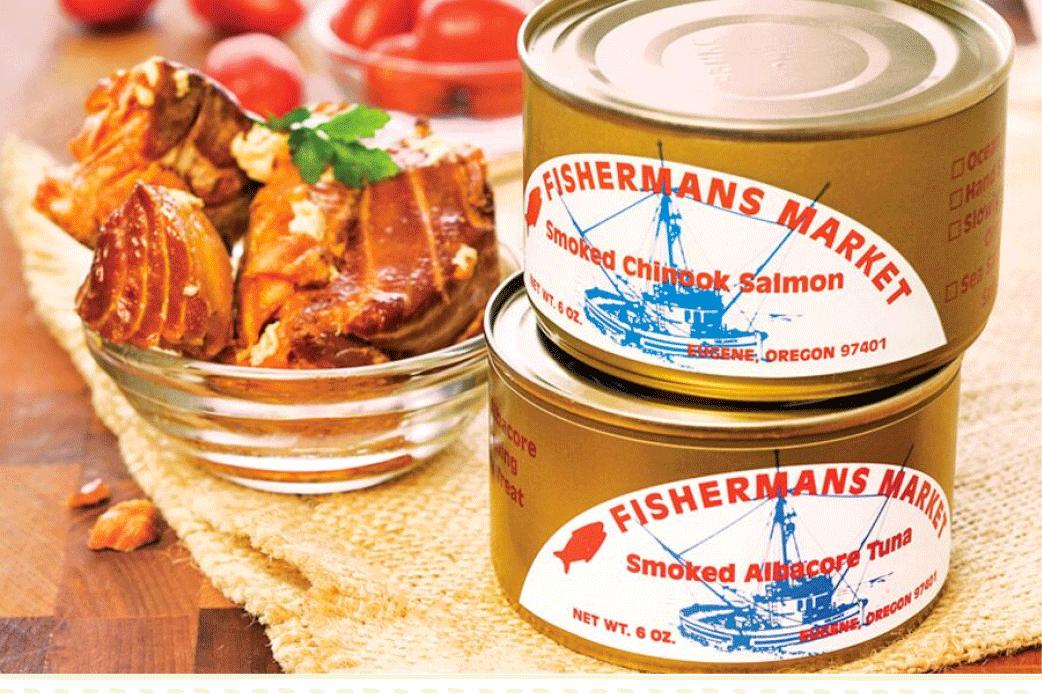 Fisherman's Market Canned Smoked Chinook Salmon and Albacore Tuna
