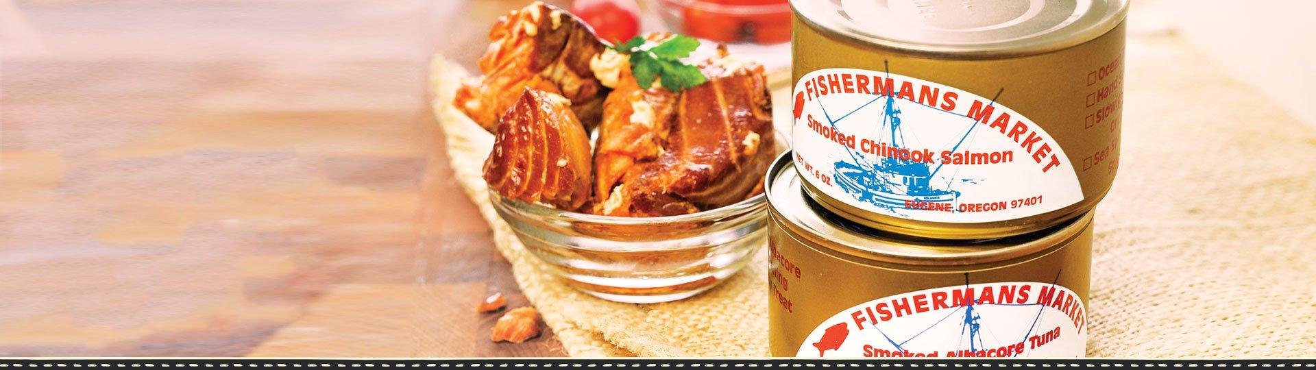 Fisherman's Market Canned Smoked Chinook Salmon and Smoked Albacore Tuna