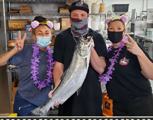 Fisherman's Market Nauti Crew with Chinook Salmon